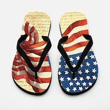 Vintage American Flag Patriotic Flip Flops