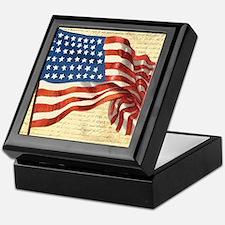 Vintage American Flag Patriotic Keepsake Box