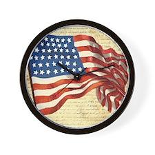 Vintage American Flag Patriotic Wall Clock