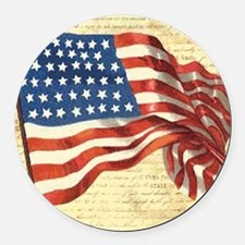 Vintage American Flag Patriotic Round Car Magnet