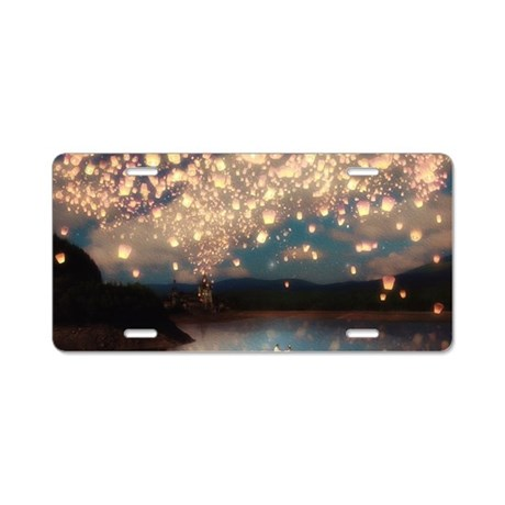 Wish Lanterns for Love Aluminum License Plate
