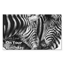 Zebra Birthday Card Decal