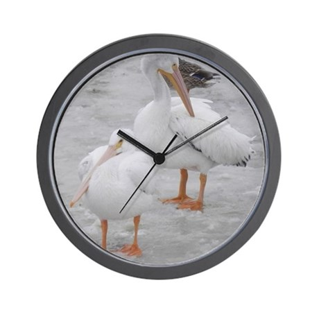 American White Pelicans Wall Clock