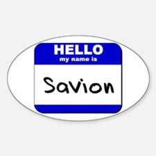 hello my name is savion Oval Decal
