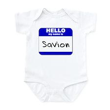 hello my name is savion  Infant Bodysuit