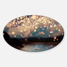Wish Lanterns for Love Sticker (Oval)