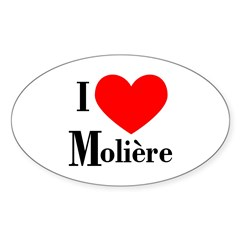 I Love Moliere Oval Decal
