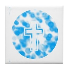 Blue and White cross Tile Coaster