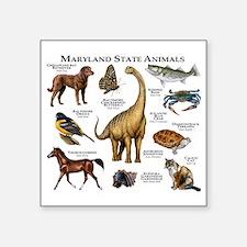 "Maryland State Animals Square Sticker 3"" x 3"""