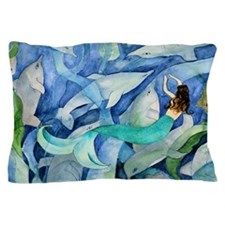 Dolphins and Mermaid party Pillow Case