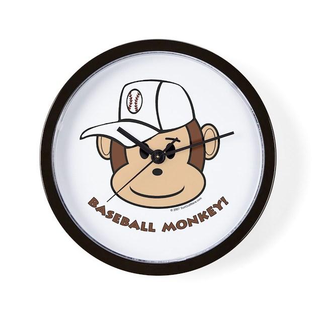 Baseball Monkey! Wall Clock by sunoutfitters
