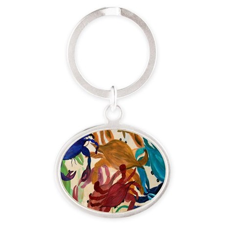 Crab Party Oval Keychain