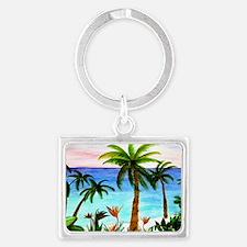 Aqua Beach Landscape Keychain