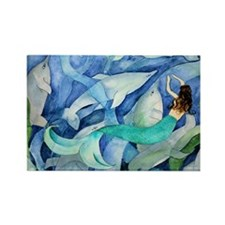 Dolphins and Mermaid party Rectangle Magnet