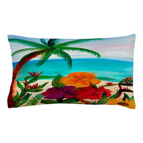 Tropical Floral Beach Pillow Case