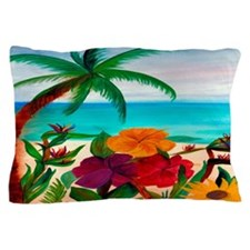 Tropical Floral Beach Pillow Case
