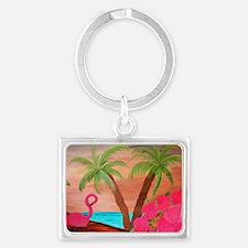 Flamingo in Paradise Art Landscape Keychain