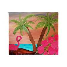 Flamingo in Paradise Art Throw Blanket