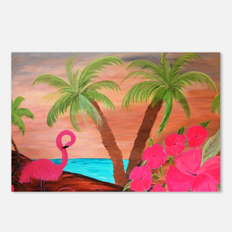 Flamingo in Paradise Art Postcards (Package of 8)
