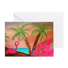 Flamingo in Paradise Art Greeting Card