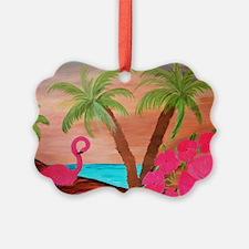 Flamingo in Paradise Art Ornament