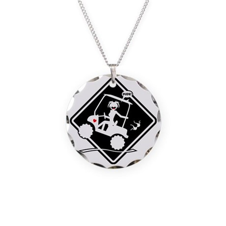GOLF MALFUNCTIONS black plac Necklace Circle Charm
