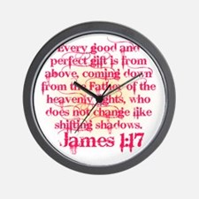 James 1:17 in Pink Wall Clock