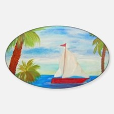 Red Sailboat nautical art Decal