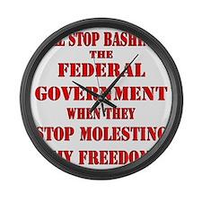 blk_bash_fed_gov_molest_freedom Large Wall Clock