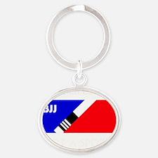 BJJ lifestyle black lettering Oval Keychain