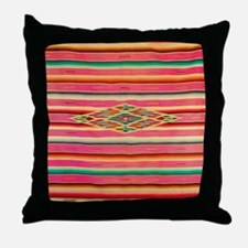 Vintage Pink Mexican Serape Throw Pillow
