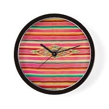Vintage Pink Mexican Serape Wall Clock