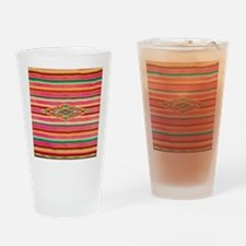 Vintage Pink Mexican Serape Drinking Glass