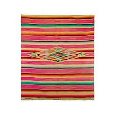 Vintage Pink Mexican Serape Throw Blanket