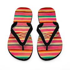 Vintage Pink Mexican Serape Flip Flops