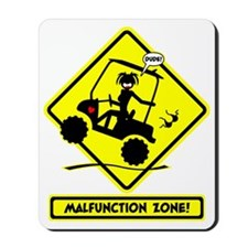 GOLF MALFUNCTIONS yellow placard Mousepad