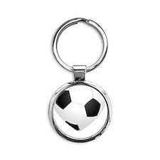 Soccer Heart Round Keychain