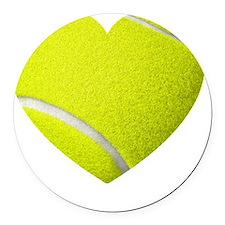 Tennis Heart Round Car Magnet