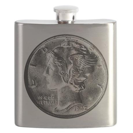 1942 Mercury Dime Flask