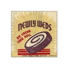 "Newly Weds Ice Cream Square Sticker 3"" x 3"""
