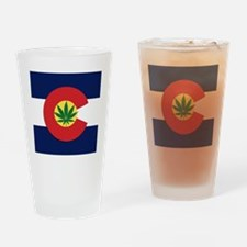Colorado State Pot Flag Drinking Glass