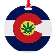 Colorado State Pot Flag Ornament