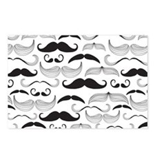 Mustache Black Postcards (Package of 8)