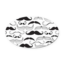 Mustache Black Oval Car Magnet