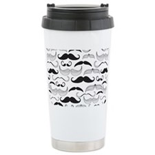 Mustache Black Travel Mug