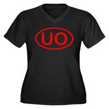 UO Oval (Red) Women's Plus Size V-Neck Dark T-Shir