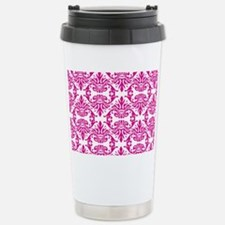 Damask Pink Stainless Steel Travel Mug