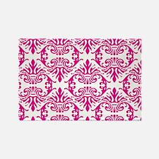 Damask Pink Rectangle Magnet