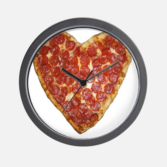 heart pizza Wall Clock