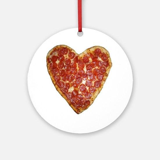 heart pizza Round Ornament